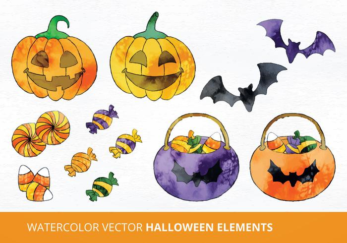 Watercolor Halloween Vector Illustration