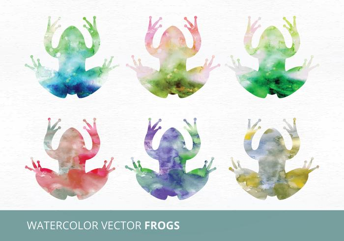 Watercolor Vector Frogs
