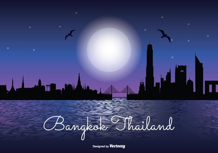 Bangkok natt skyline illustration
