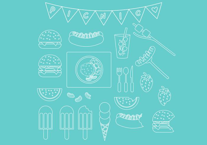 Picnic Line Icon Set