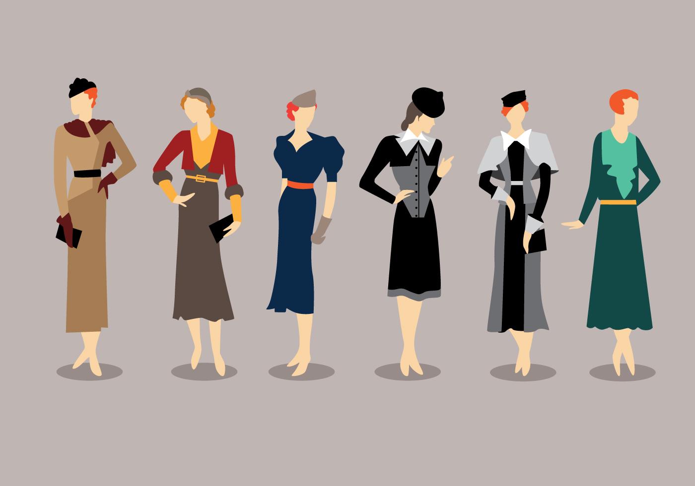 Fashion Style 1930s Vectors