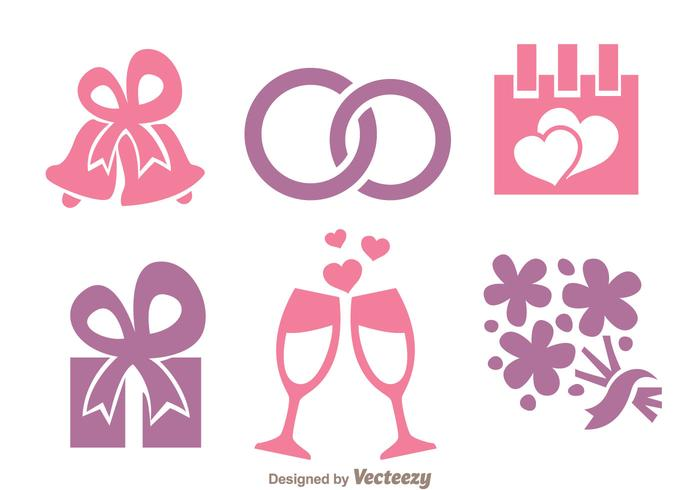 Wedding Pink And Purple Icons