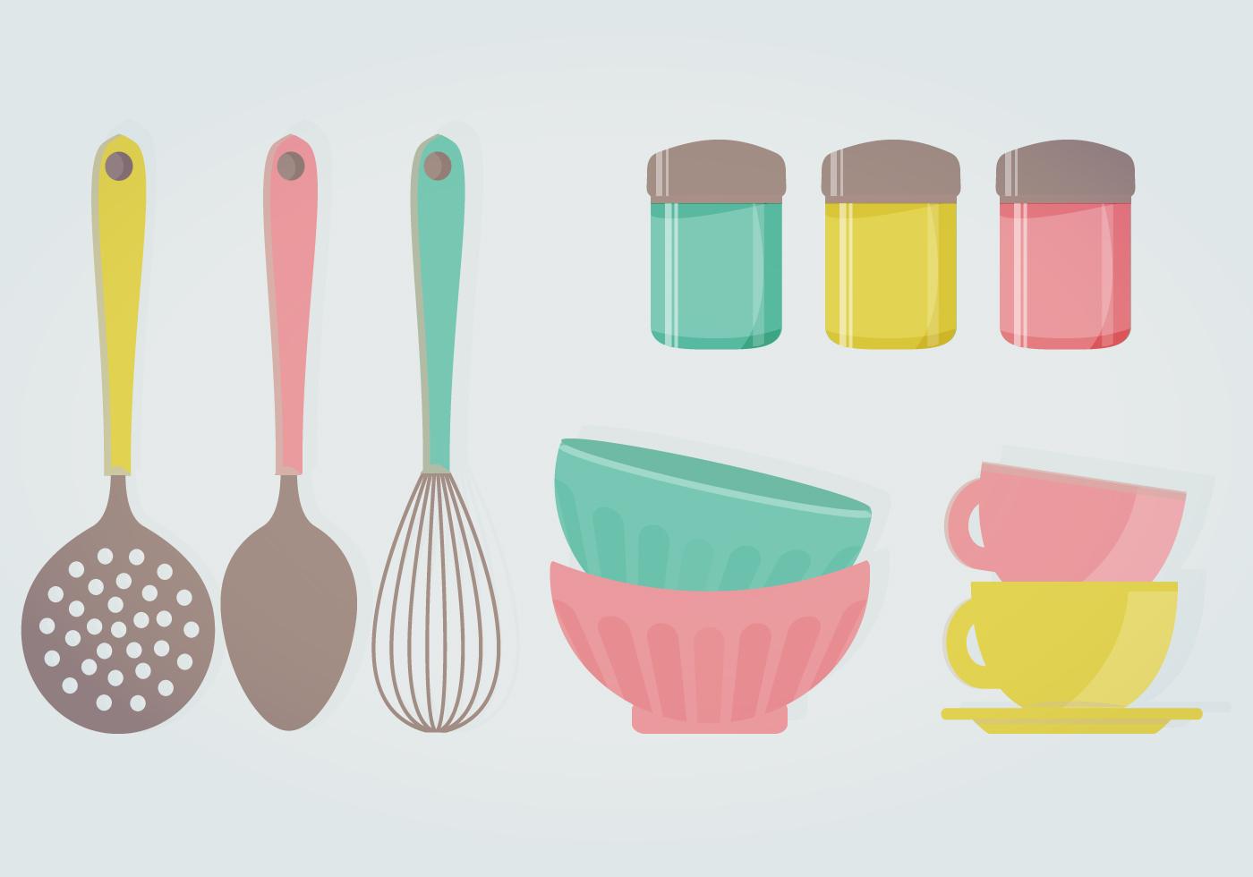 Ilustra o retro do vetor da cozinha download vetores e for Utensilios de cocina logo