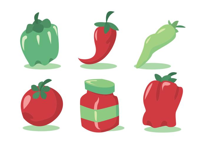 Green Hot Pepper Vector Set