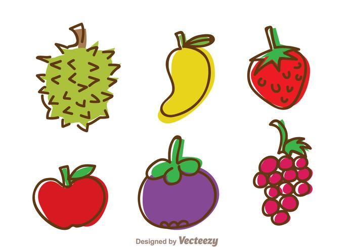 Icônes de dessin à main de fruits vecteur