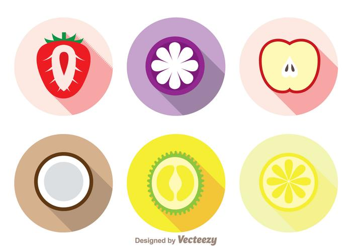 Slice Fruits Long Shadow Icons