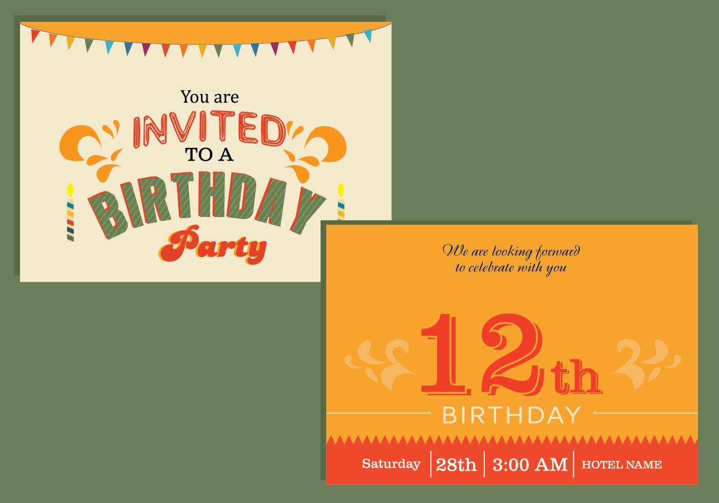 Happy Birthday Card Invitation Download Free Vector Art