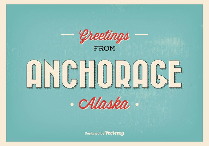 Anchorage Alaska Vintage Greeting Illustration