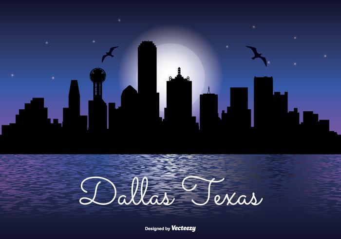Dallas Texas Night Skyline Illustration