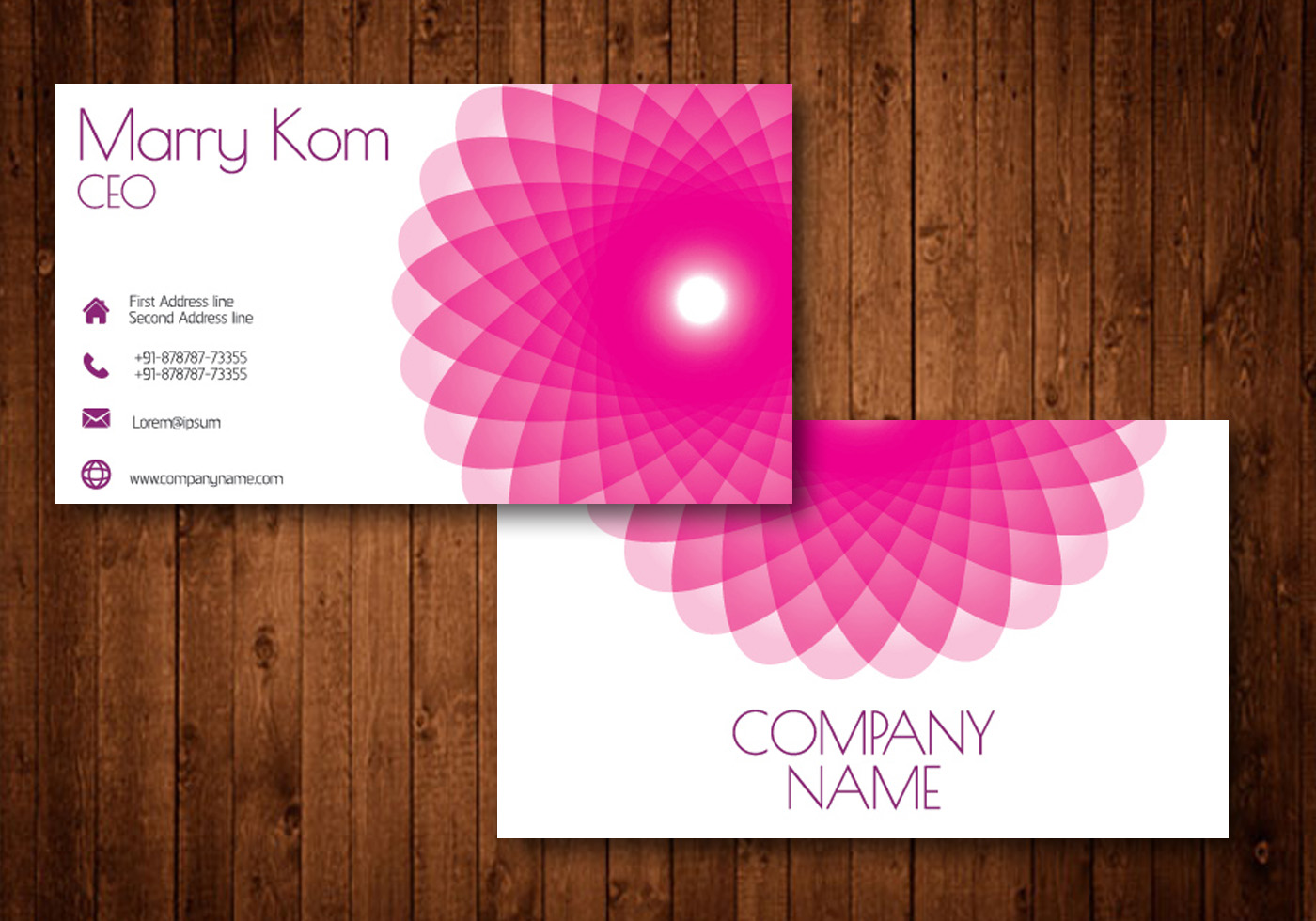 pink abstract flower creative business card