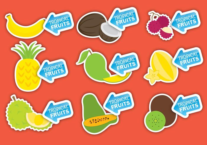 Tropical Fruits Labels