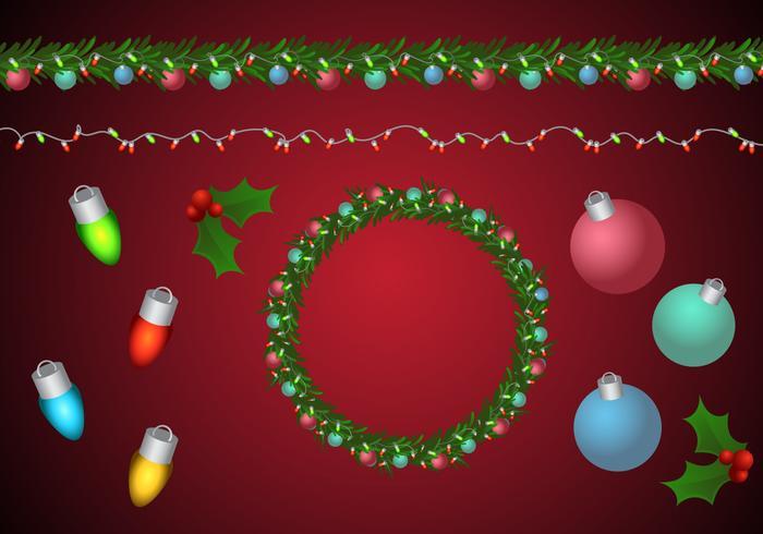 Weihnachtskranz und Girlande Pinsel vektor