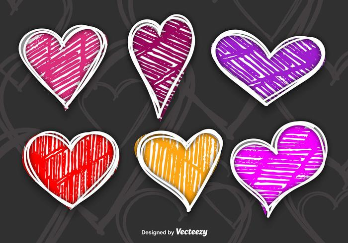 Colorful hand drawn hearts