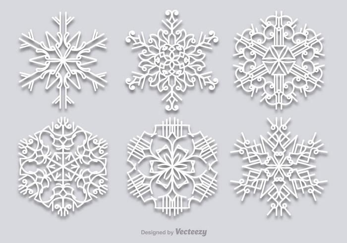 White snowflakes set