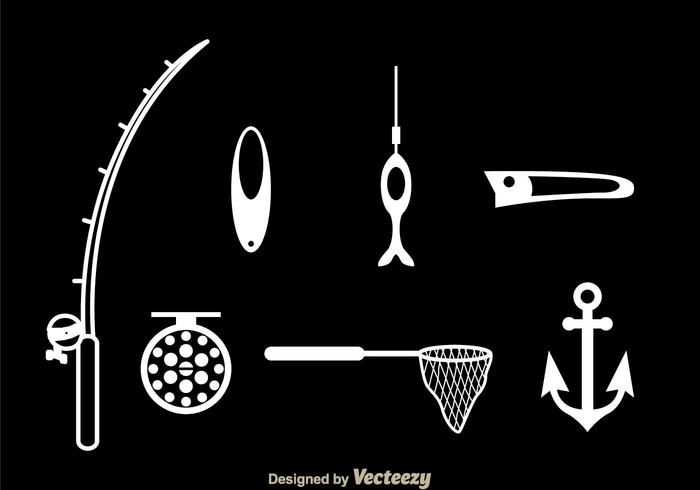Fishing White Icons vector