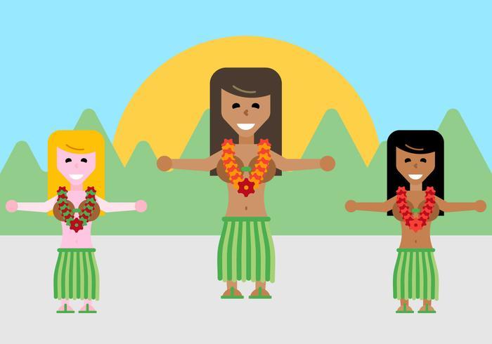 Free Hawaiian Dancers Vector