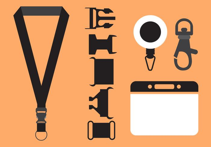Vector Set of Lanyard Accessories