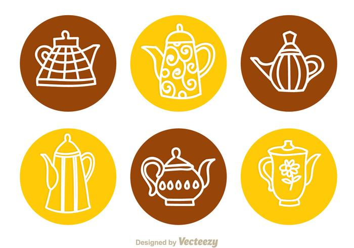 Arabic Coffee Pot Circle Icons