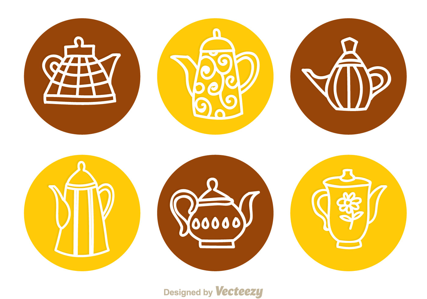 Arabic Coffee Pot Circle Icons Download Free Vectors
