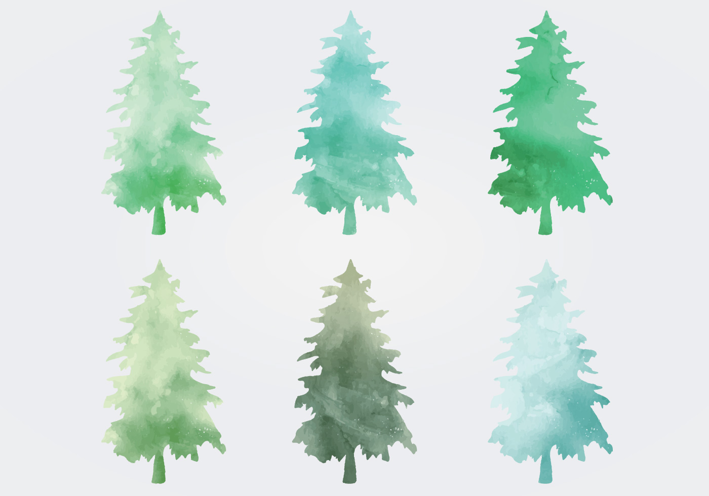 Watercolor Vector Trees Download Free Vector Art Stock