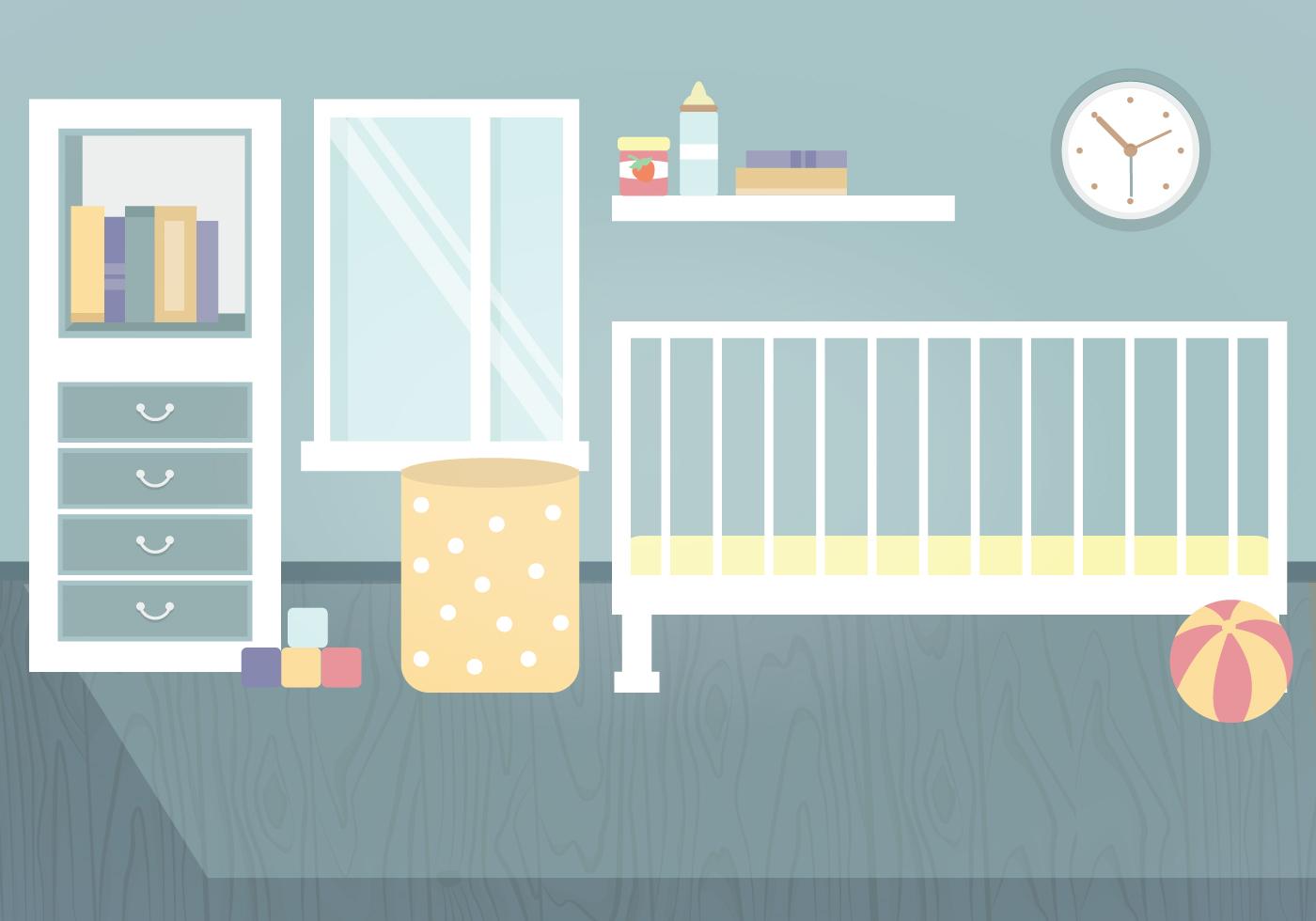 Vector Kids Room Illustration Download Free Vector Art