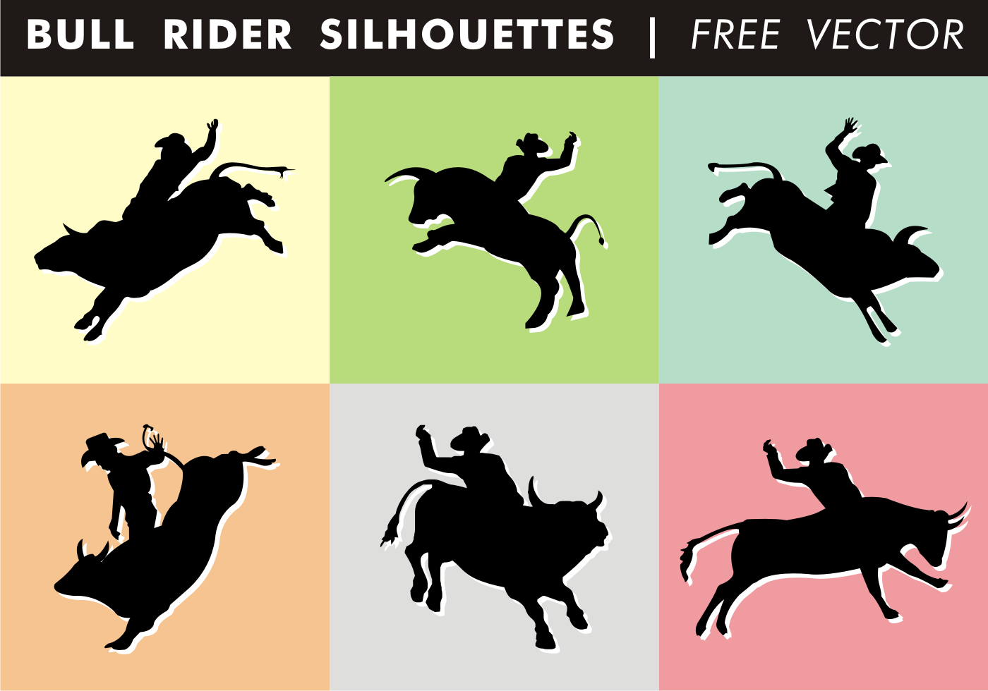 Bull Rider Silhouette Free Vector 100756 - Download Free ...
