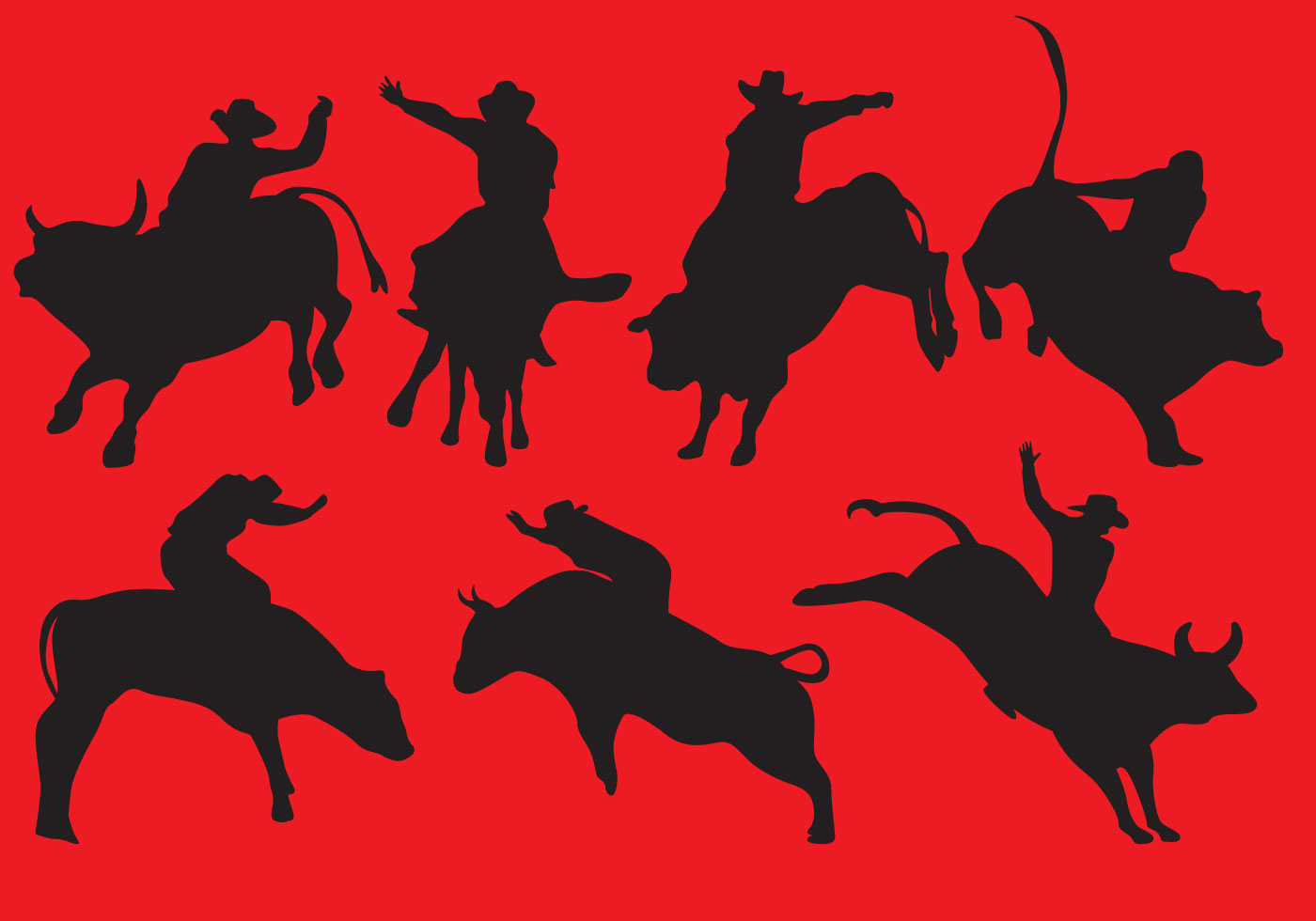 Bull Rider Silhouettes - Download Free Vector Art, Stock ...