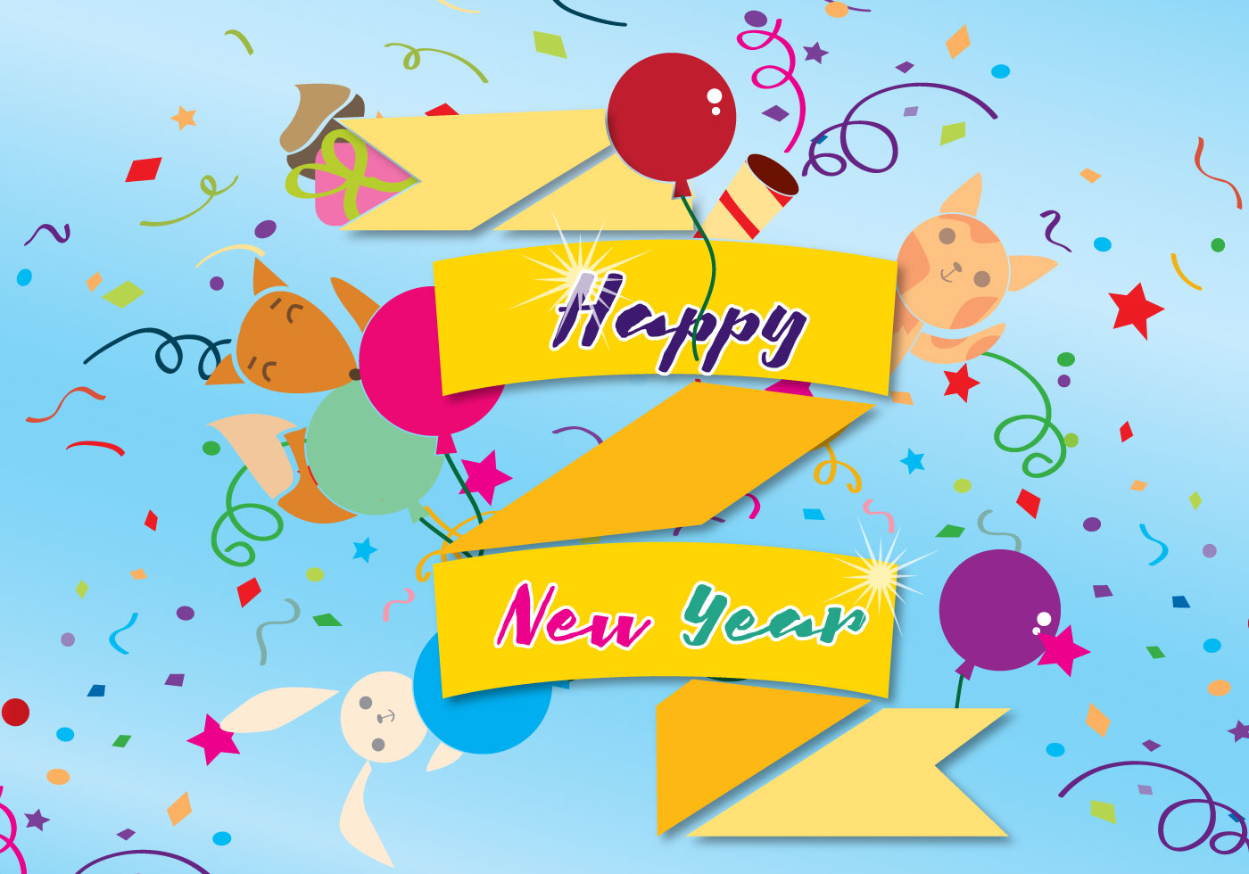 happy new year card free vector art 34625 free downloads