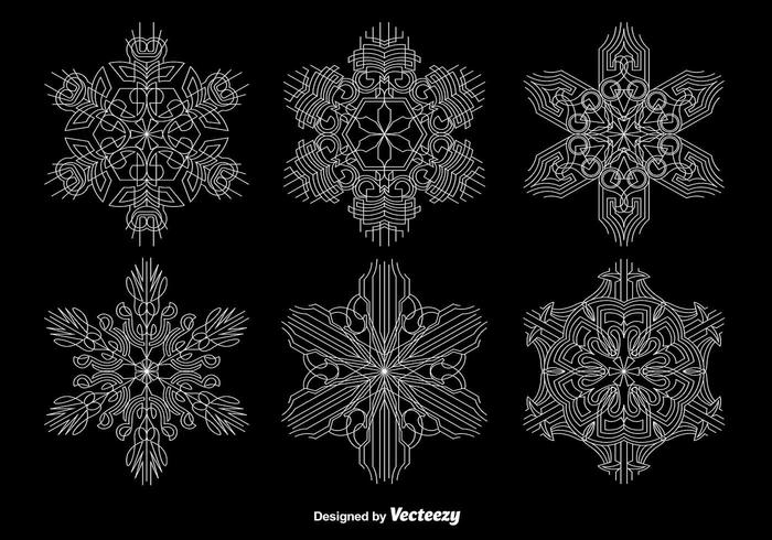Ornamental Geometric Snowflakes vector