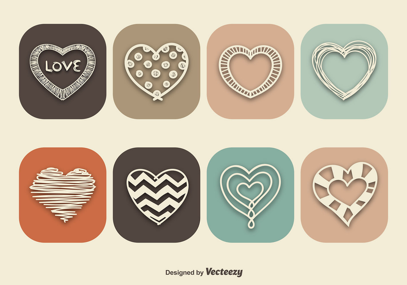 Vintage Style Heart Icons Download Free Vector Art Stock Graphics Images