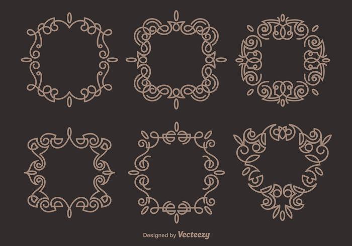 Brown Elegant Scrollwork Vectors