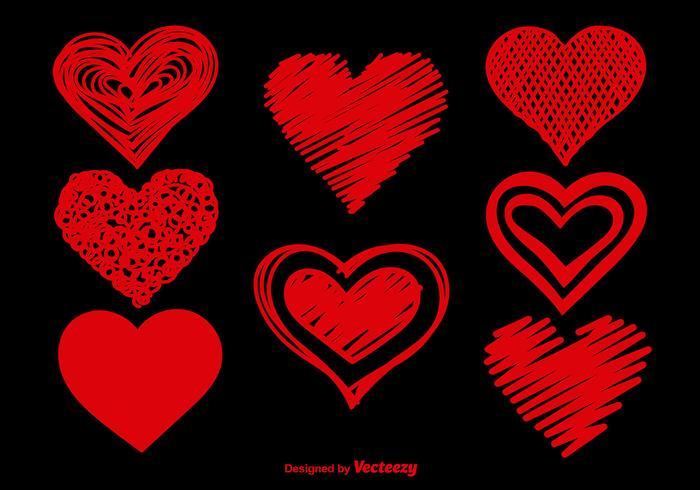 Doodle hearts set