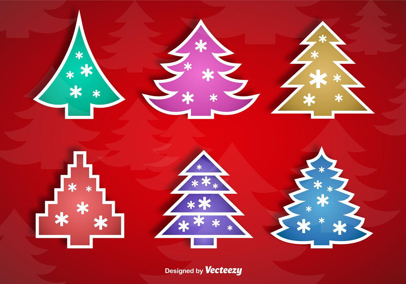 Vector Christmas Tree Stickers