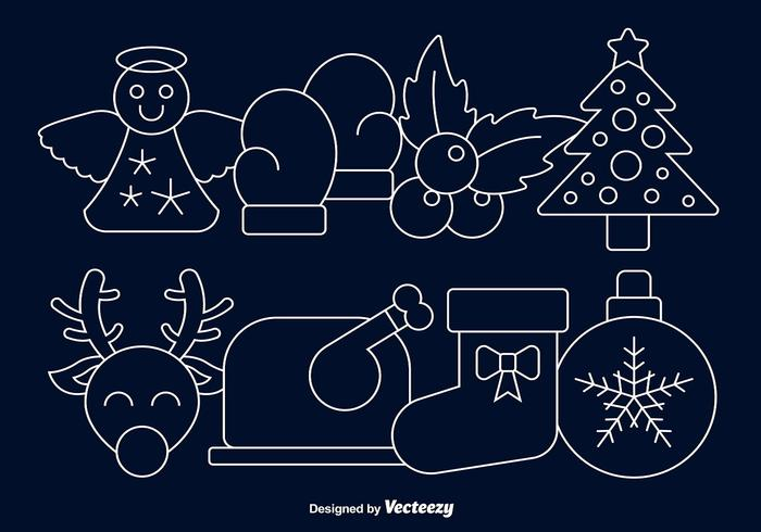 Icônes de ligne de Noël