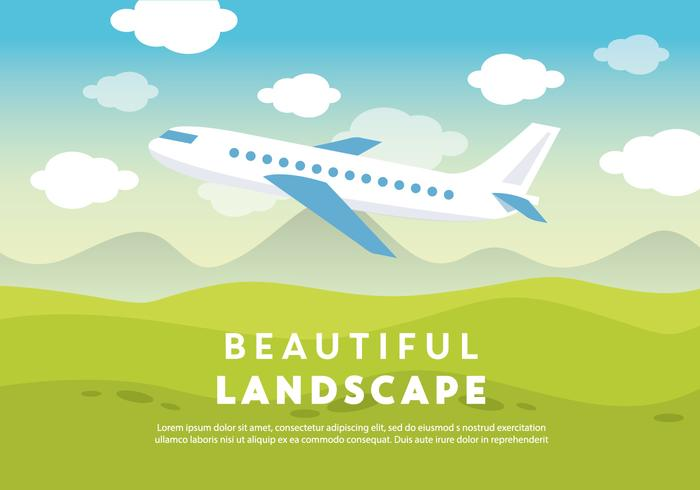 Free Beautiful Landscape Vector Backround with Airplane