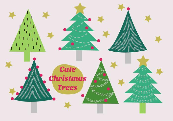 Free Set of Christmas Trees Vector