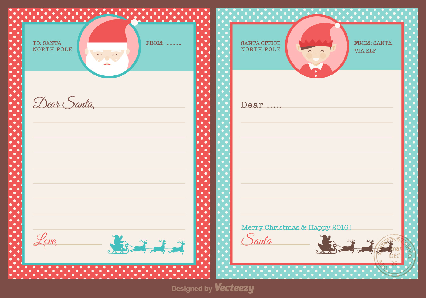 Free Santa Letters Design Vector Download Free Vector