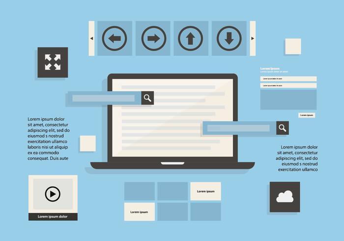 Fundo grátis de vetor de elementos da Web com dispositivo de tela sensível ao toque