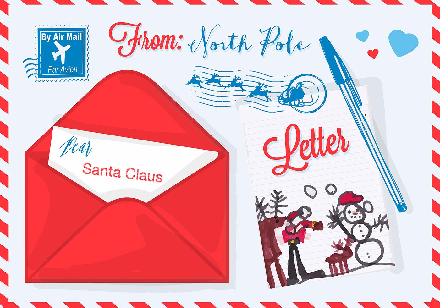 Free Vector Illustration For Christmas Letter To Santa