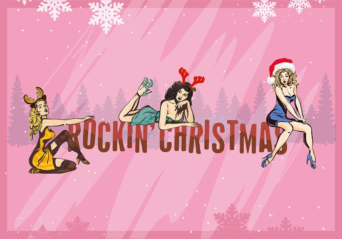 Free Christmas Background Illustration with Hand Drawn Characters