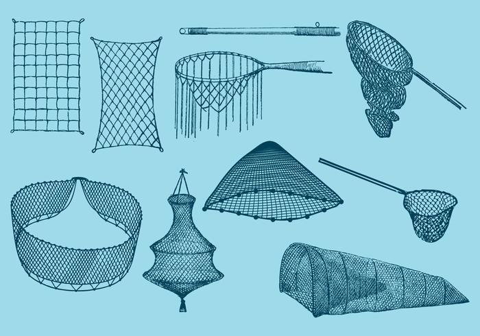 Filets de pêche vecteur