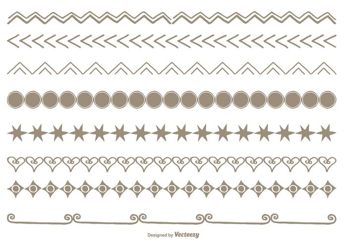 Conjunto de bordas de estilo desenhado à mão