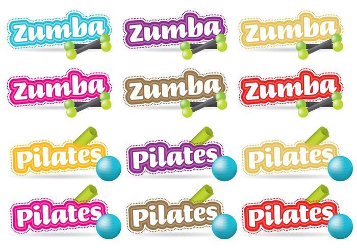 Zumba Y Pilates Títulos vector