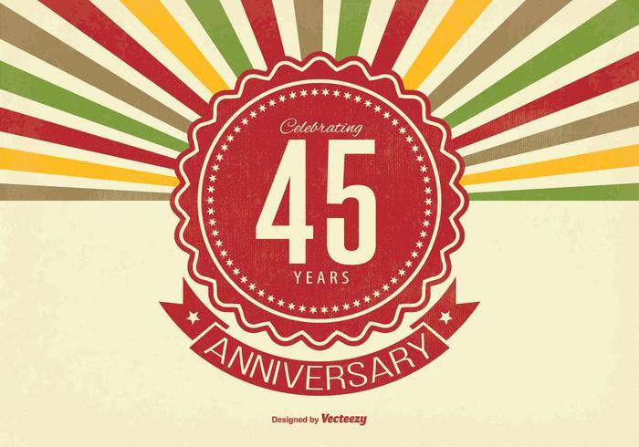 Ilustração retro de aniversário de 45 anos