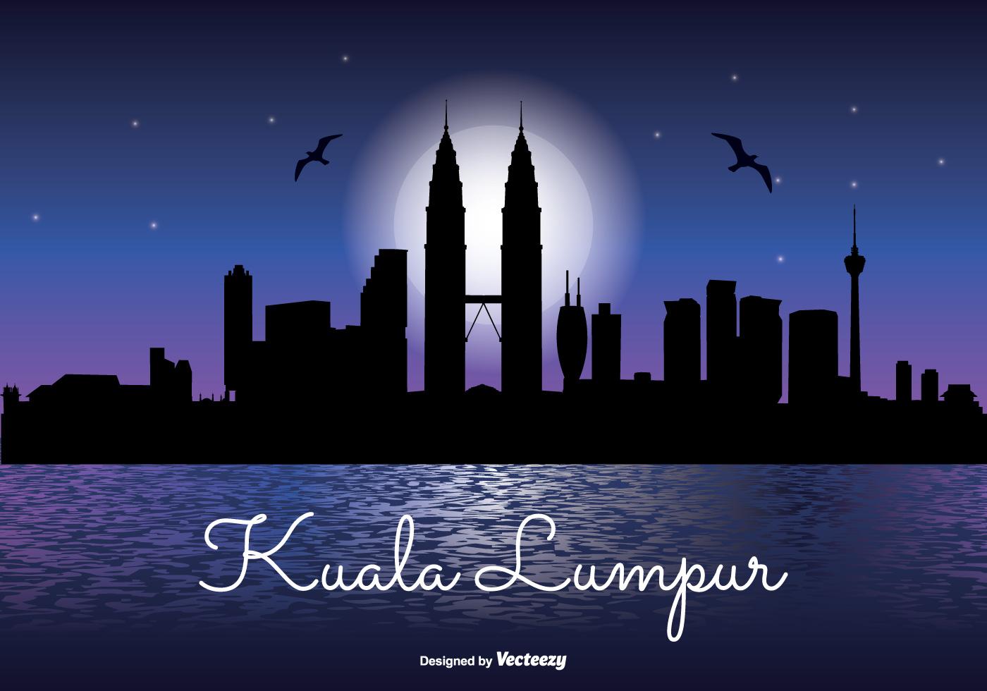 Kuala Lumpur Night Skyline Illustration Download Free