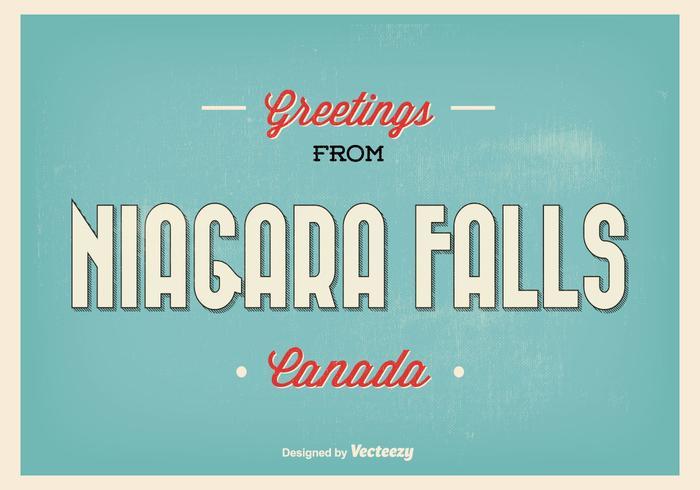 Retro Niagara Falls Greeting Illustration
