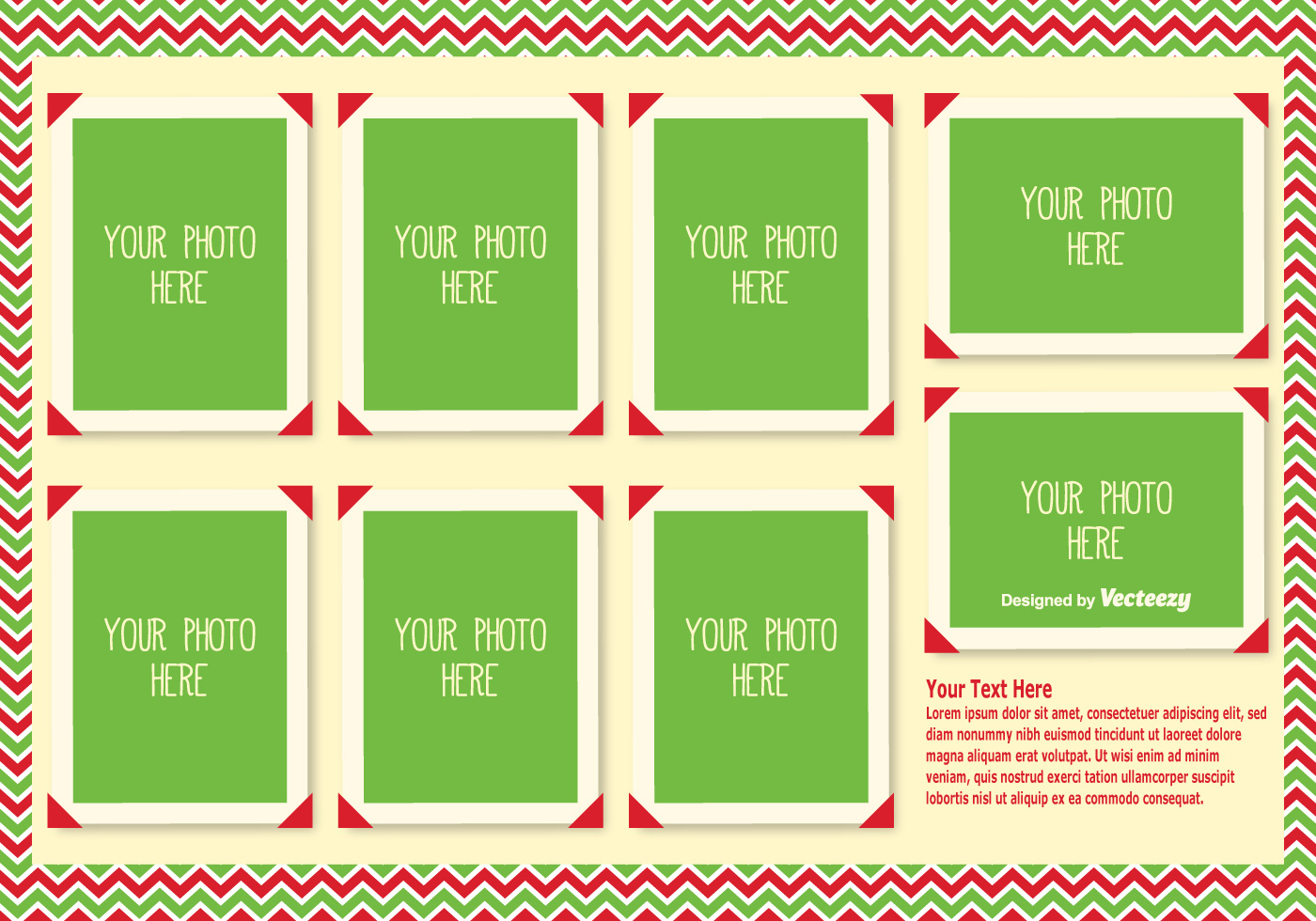 christmas photo collage template   vector art stock graphics images