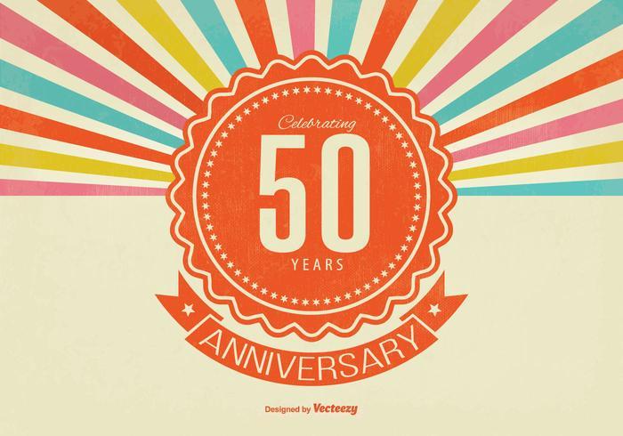 Retro stijl 50e verjaardag illustratie