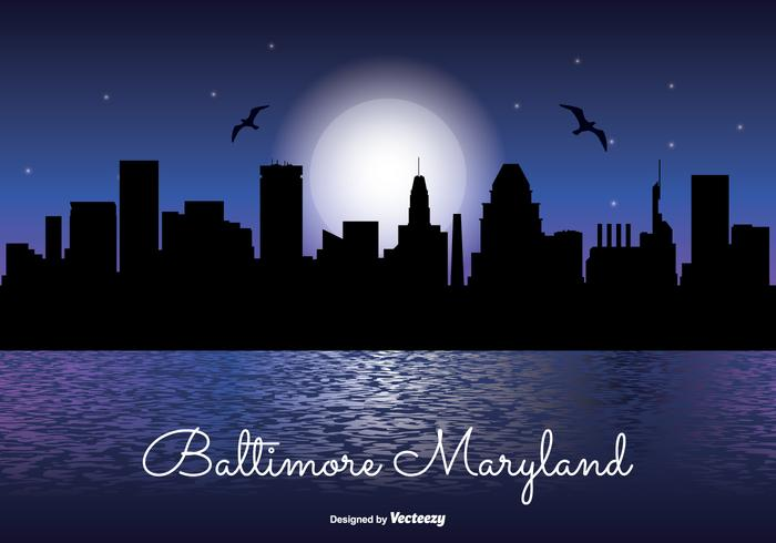 Baltimore natt skyline illustration