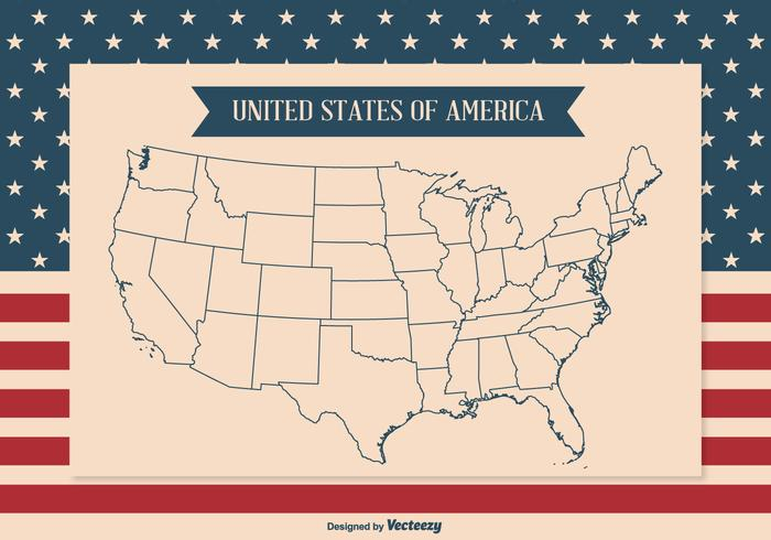 United States Map Outline Illustration Download Free Vector Art